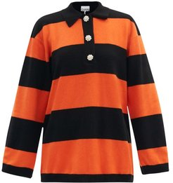 Crystal-button Striped Polo Cashmere Sweater - Womens - Black Orange