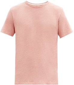 Flame Crew-neck Slubbed Cotton-jersey T-shirt - Mens - Pink