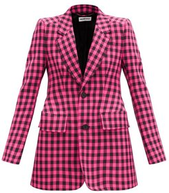 Hourglass Gingham Single-breasted Jacket - Womens - Black Pink