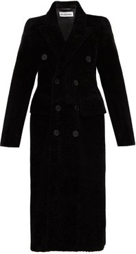 Hourglass Double-breasted Shearling Coat - Womens - Black