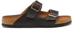 Arizona Two-strap Grained-leather Sandals - Mens - Black