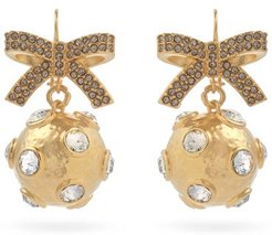 Crystal-embellished Bow And Sphere Earrings - Womens - Gold