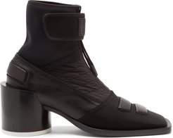 Square-toe Leather And Neoprene Ankle Boots - Womens - Black