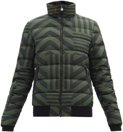 Star Dazzle Quilted Striped Down Jacket - Womens - Black Green