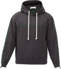 Logo-embroidered Deconstructed Hooded Sweatshirt - Mens - Black Green