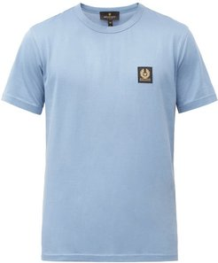 Logo-patch Cotton-jersey T-shirt - Mens - Blue