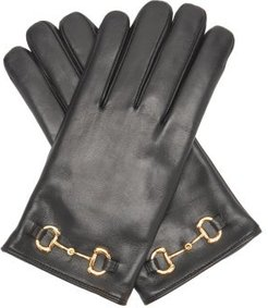 Horsebit Leather Gloves - Mens - Black
