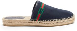 GG-embroidered Canvas Backless Espadrilles - Mens - Navy
