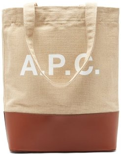Axella Logo-print Canvas And Leather Tote Bag - Mens - Beige