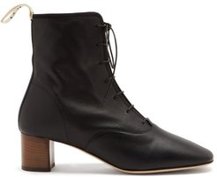 Squared-toe Block-heel Leather Boots - Womens - Black