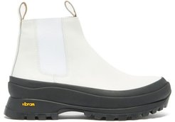 Exaggerated-sole Leather Chelsea Boots - Womens - White Black