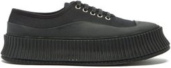 Ribbed-sole Canvas Trainers - Womens - Black Navy