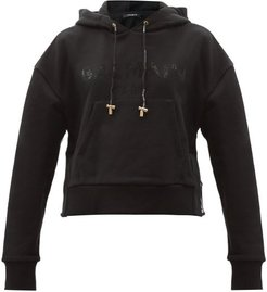 Cropped Cotton-jersey Hooded Sweatshirt - Womens - Black