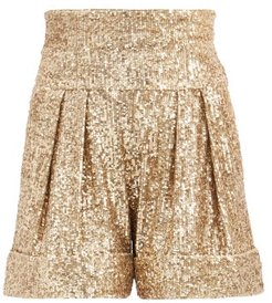 High-rise Sequinned-crepe Shorts - Womens - Gold