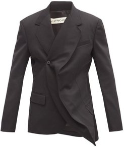 Evergreen Twisted Double-breasted Wool Jacket - Mens - Black