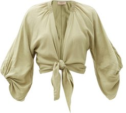 Knotted-front Cropped Linen-blend Blouse - Womens - Light Green