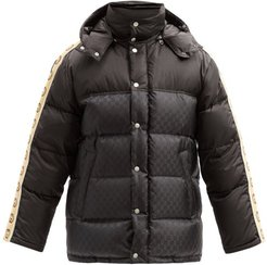 GG-trim Quilted Down Coat - Mens - Black
