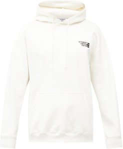 Logo-embroidered Cotton-blend Hooded Sweatshirt - Mens - White