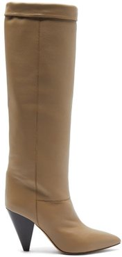Loens Foldover-top Leather Knee-high Boots - Womens - Beige