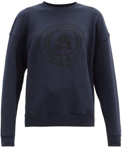 Fiena Logo-embroidered Cotton-jersey Sweatshirt - Womens - Navy