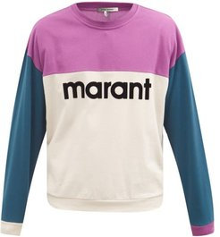Aftone Flocked-logo Cotton-piqué Sweatshirt - Mens - Purple
