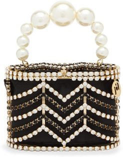 Holli Chevron Crystal-embellished Caged Bag - Womens - Black And White
