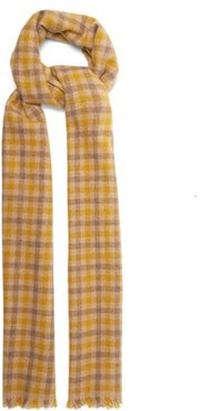 Varney Small Checked Wool-blend Scarf - Womens - Beige Print