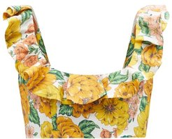 Poppy Floral-print Linen Cropped Top - Womens - Yellow Print