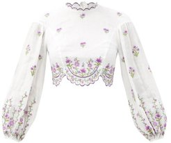 Poppy Embroidered Linen-poplin Cropped Top - Womens - White Multi