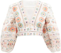 Brighton Embroidered Cotton-poplin Crop Top - Womens - Orange Print