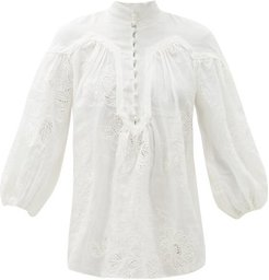 Riders Floral-embroidered Ramie Blouse - Womens - Ivory