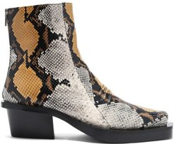 Leone Snake-print Square-toe Leather Chelsea Boots - Mens - Dark Brown