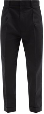Cotton-blend Twill Tapered-leg Trousers - Mens - Black
