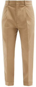 Cotton-blend Twill Tapered-leg Trousers - Mens - Beige