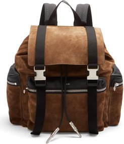Canvas-trimmed Suede Backpack - Mens - Brown