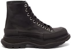 Tread Slick Exaggerated-sole Leather Boots - Womens - Black