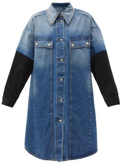 Contrast-sleeve Denim Shirt Dress - Womens - Denim