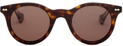 Engraved-frame Round Acetate Sunglasses - Mens - Brown
