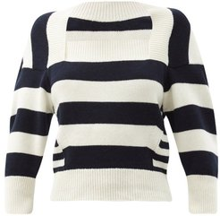 Square-neck Stripe Wool-blend Sweater - Womens - White Multi