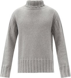 Roll-neck Ribbed-edge Cashmere Sweater - Mens - Grey