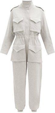 Patch-pocket Cotton-blend Jersey Jumpsuit - Womens - Light Grey