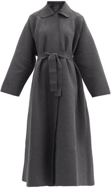 Oversized Belted Cotton-blend Jersey Coat - Womens - Dark Grey
