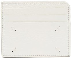 Four-stitches Grained-leather Cardholder - Womens - White