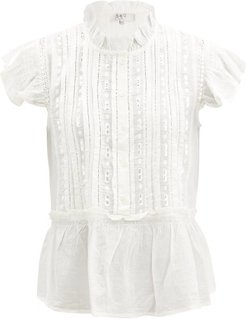Ingrid Shirred Broderie-anglaise Cotton Blouse - Womens - White