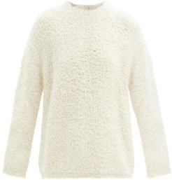 Curved-sleeve Alpaca And Wool-blend Boucle Sweater - Womens - White