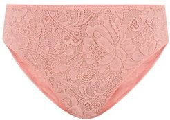 Tali High-rise Floral-lace Briefs - Womens - Light Pink