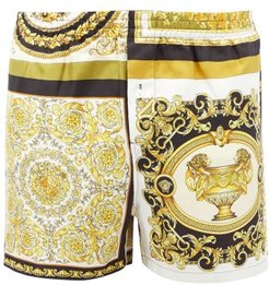 Baroque-print Silk-twill Pyjama Shorts - Mens - Gold Multi