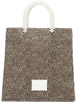 Basil Faux-pearl And Leopard-print Canvas Tote Bag - Womens - Leopard