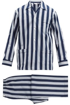 Royal Striped Cotton Pyjamas - Mens - Navy