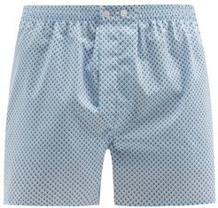 Ledbury Geometric-print Cotton-poplin Boxer Shorts - Mens - Blue